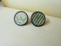 Cufflinks with large green map + stamp (24mm across) was £90 / now £40